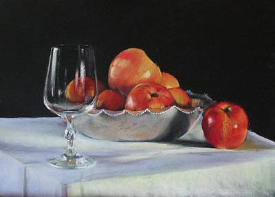Apples And Wineglass Print by Diane Breuer