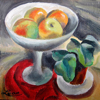 Flowers In A Vase Painting - Apples In A Vase by Leon Zernitsky