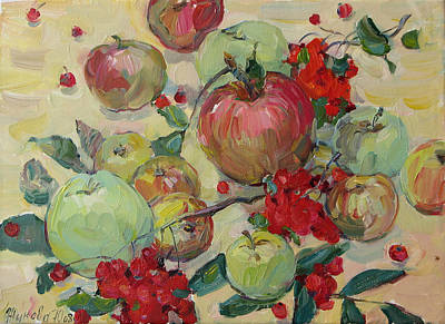 Still Life With Green Apples Painting - Apples by Juliya Zhukova