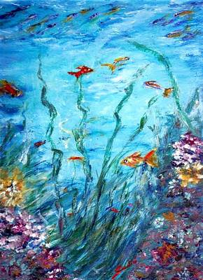Tropical Fish Painting - Aqua  by Mary Sedici