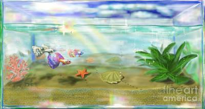Goldfish Digital Art - Aquarium by MURUMURU By FP