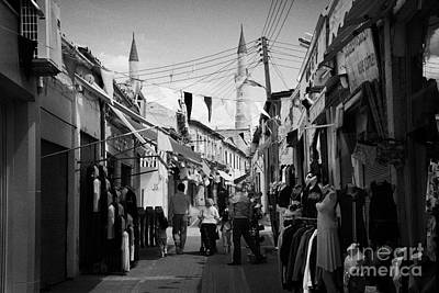 arasta street shopping area leading from border checkpoint to the selimiye mosque in nicosia TRNC Print by Joe Fox