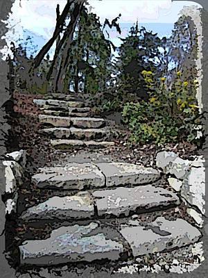Pathway Digital Art - Arboretum Stairway by Tim Allen