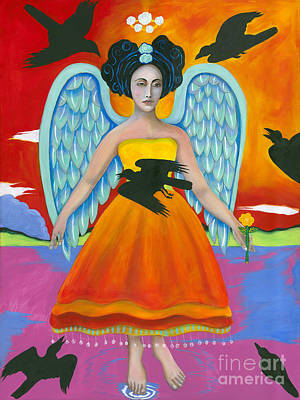 Archangel Zadklie Comes To Calm The Brewing Storm Print by Christina Miller