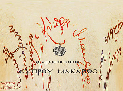 Archbishop Makarios  Autograph Print by Augusta Stylianou