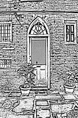 Arched Doorway French Quarter New Orleans Photocopy Digital Art Print by Shawn O'Brien