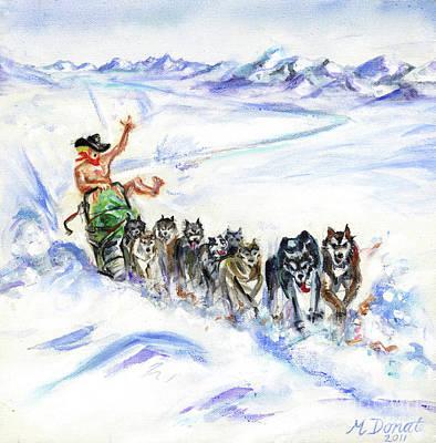 Arctic Dog Painting - Arctic Cowboy by Margaret Donat