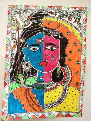 Parvati Mixed Media - Ardhanareswar by Reshma Rout