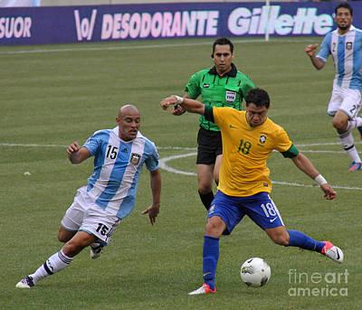 Argentina Vs Brazil Battle Print by Lee Dos Santos