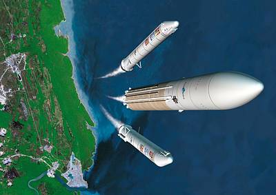 Ariane 5 Rocket Launch, Artwork Print by David Ducros