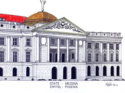 Capitol Building Mixed Media - Arizona State Capitol by Frederic Kohli