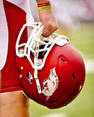 Arkansas Razorback Helmet Print by Replay Photos