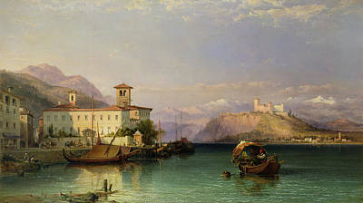 North Italian Town Painting - Arona And The Castle Of Angera Lake Maggiore by George Edwards Hering