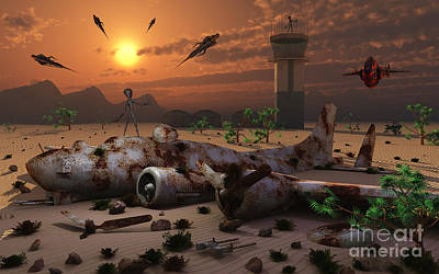 Abandoned Air Plane Digital Art - Artists Concept Of A Science Fiction by Mark Stevenson