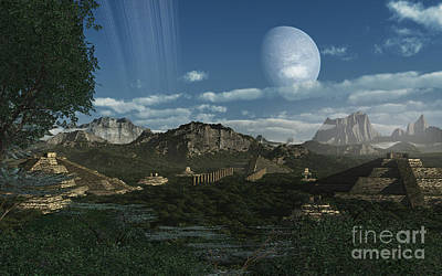 Artists Concept Of Mayan Like Ruins Print by Frieso Hoevelkamp