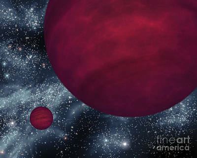 Rendition Digital Art - Artists Concept Of Twin Brown Dwarfs by Stocktrek Images