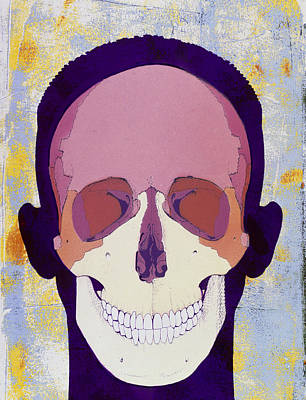 Artwork Of A Human Skull In Front View Print by Hans-ulrich Osterwalder