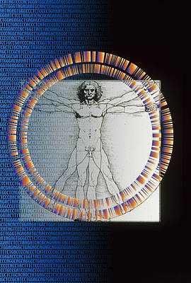 Artwork Of Male Figure With Genetic Sequence Print by Pasieka