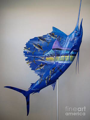 Ocean Turtle Painting - Artwork On Sailfish by Carey Chen