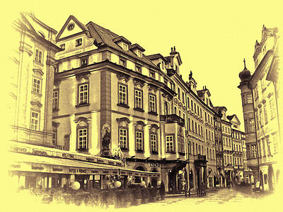 Prague Digital Art - Artwork Prague Czech Republic by Maggie Vlazny