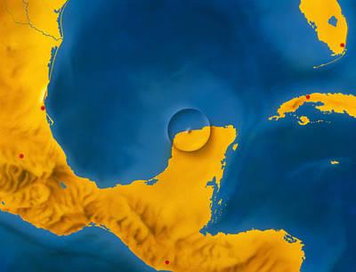 Dinosaur Map Photograph - Artwork Showing Chicxulub Impact Crater, Yucatan by D. Van Ravenswaay