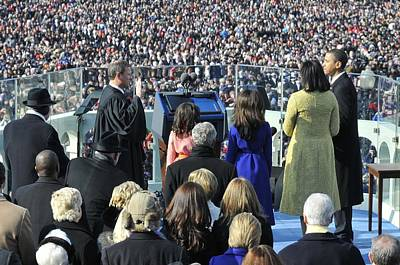 Obama Family Photograph - As His Family Watches Barack Obama by Everett
