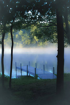 Indiana Landscapes Photograph - As The Lake Awakens by DigiArt Diaries by Vicky B Fuller