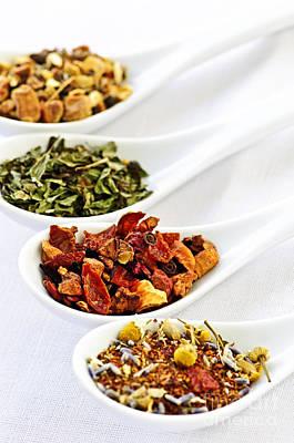 Antioxidant Photograph - Assorted Herbal Wellness Dry Tea In Spoons by Elena Elisseeva