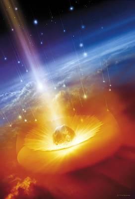Asteroid Impacting The Earth, Artwork Print by Detlev Van Ravenswaay