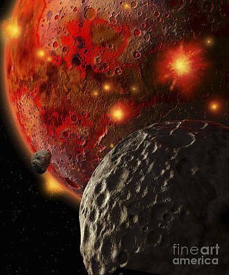 Asteroid Impacts On The Early Earth Print by Ron Miller
