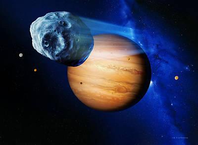 Asteroid Passing Jupiter Print by Detlev Van Ravenswaay