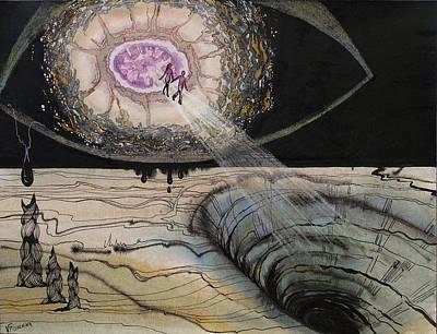 Concept Art Inks Drawing - Asteroid by Valentina Plishchina