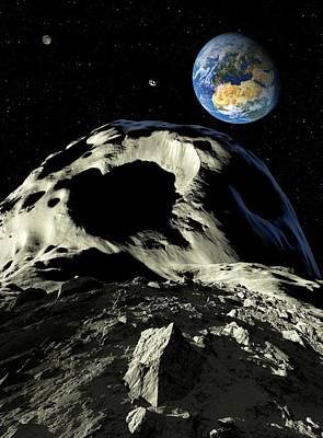 Asteroids Approaching Earth, Artwork Print by Detlev Van Ravenswaay