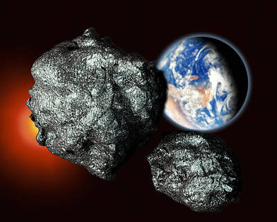 Asteroids Approaching Earth Print by Victor Habbick Visions