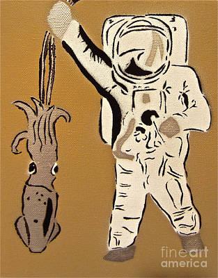 Astronaut Squid Print by Tom Evans
