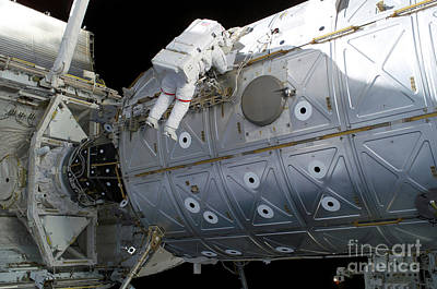 Astronaut Traverses Along The Destiny Print by Stocktrek Images