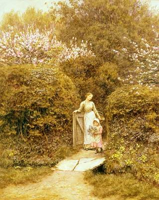 At The Cottage Gate Print by Helen Allingham