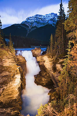Athabasca Falls And Mount Kerkeslin Print by Yves Marcoux