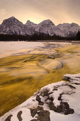 Athabasca River And Mt Fryatt, Jasper Print by Darwin Wiggett