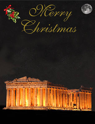 Parthenon Mixed Media - Athens Merry Christmas by Eric Kempson