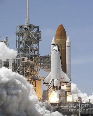 Atlantis Twin Solid Rocket Boosters Print by Stocktrek Images