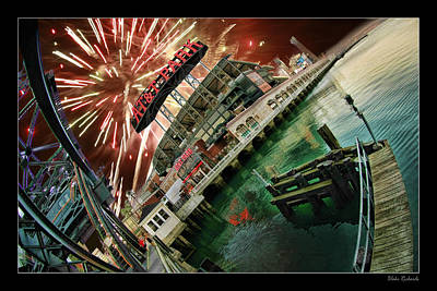 Att Park And Fire Works Print by Blake Richards