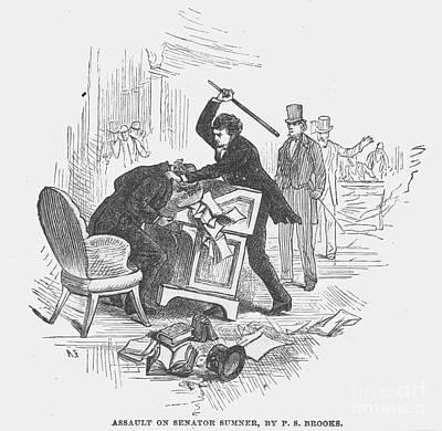 Attack On Sumner, 1856 Print by Granger
