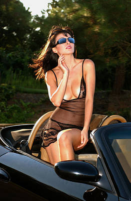 Antic Car Photograph - Attractive Brunette Posing In Luxury Convertible Car by Anton Oparin
