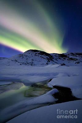 Polar Aurora Photograph - Aurora Borealis Over Mikkelfjellet by Arild Heitmann