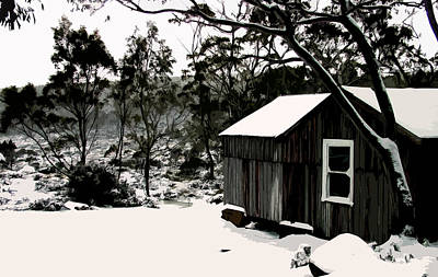 Snow Drifts Digital Art - Australian Alpine Snow Hut by Phill Petrovic