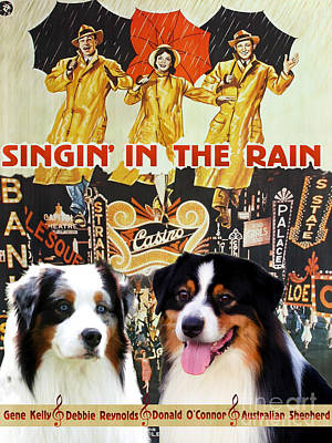 Australian Shepherd Painting - Australian Shepherd - Singin In The Rain Movie Poster by Sandra Sij