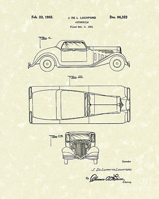 Antique Automobiles Drawing - Automobile 1932 Patent Art by Prior Art Design