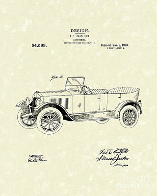 Antique Automobiles Drawing - Automobile Bradfield 1920 Patent Art  by Prior Art Design