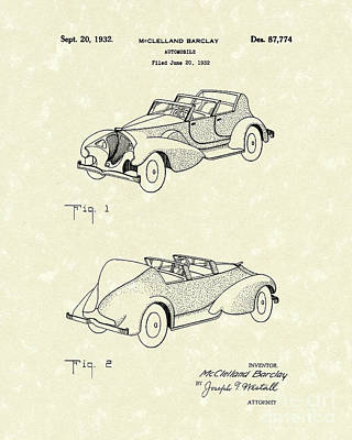 Antique Automobiles Drawing - Automobile Mccelland Barclay 1932 Patent Art by Prior Art Design